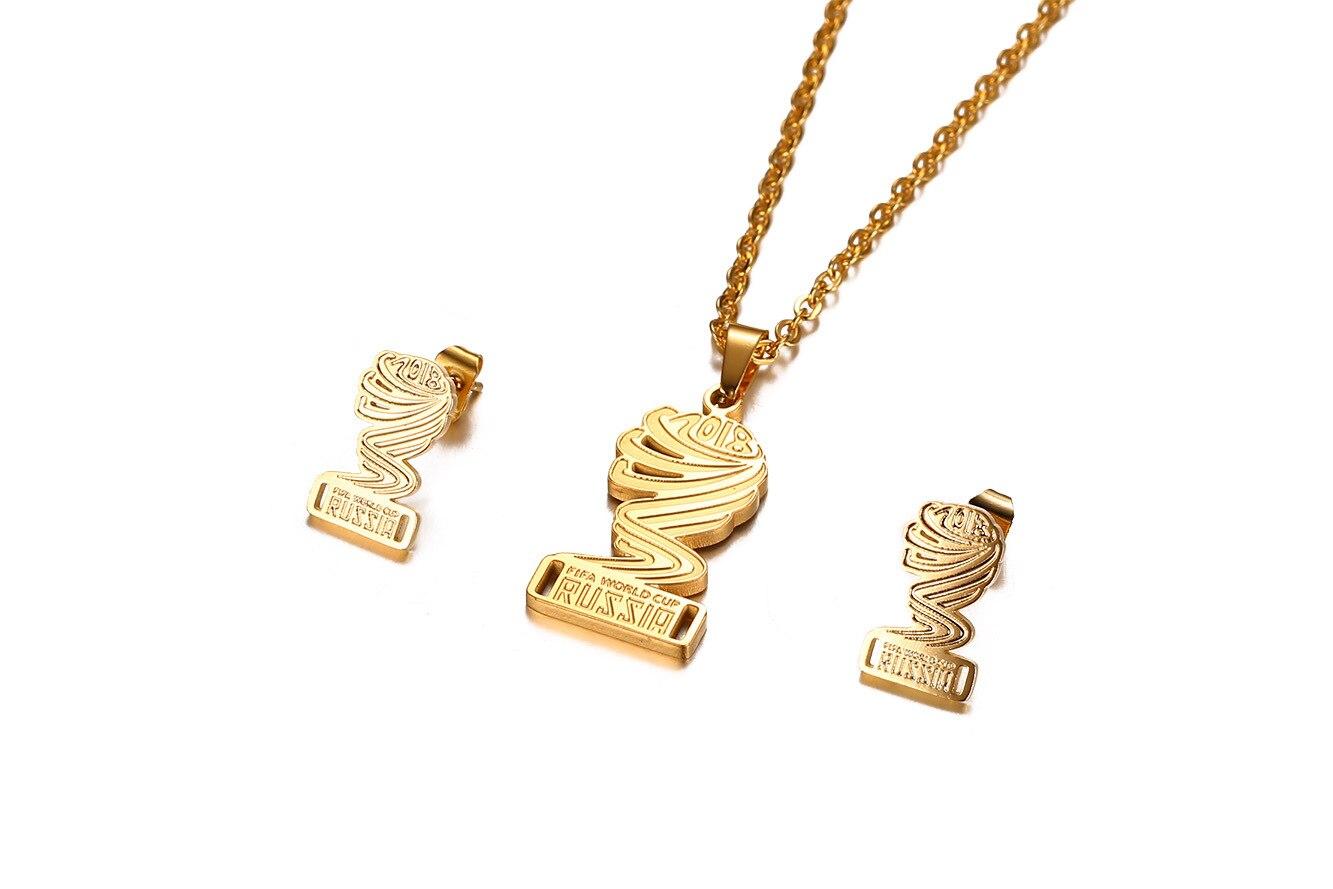 Наивысшего качества из нержавеющей стали Кубка мира ожерелье ip gold покрытие полированный серьги