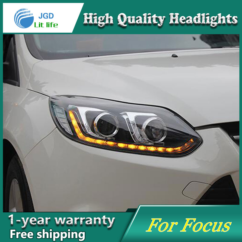 high quality Car styling case for Ford Focus 2012-2014 Headlights LED Headlight DRL Lens Double Beam HID Xenon Car Accessories ownsun new style tear drop led projector lens headlight for new ford focus 2012 2013