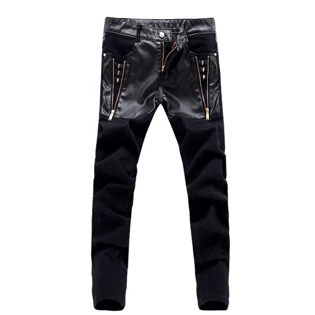 Jeans preto homens PU retalhos de couro Hip Hop Mens Slim Fit Denim calças  moda de 1a79ec0cfc0