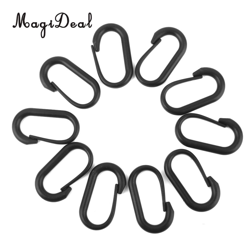 Practical Magideal 10pcs U Shape Nylon Buckle Button Carabiner Hook Camping Hiking Black High Standard In Quality And Hygiene