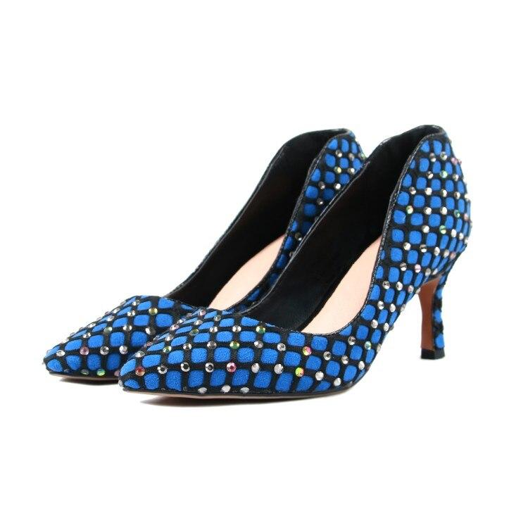 Talons Hauts Printemps Bout 5 Strass Chaussures Américaine D0960 Pointu Bal Belle Chaude Bleu Partie Yifsion 410 Sexy De Taille Femmes Mince Blue Pompes SVUzMpq
