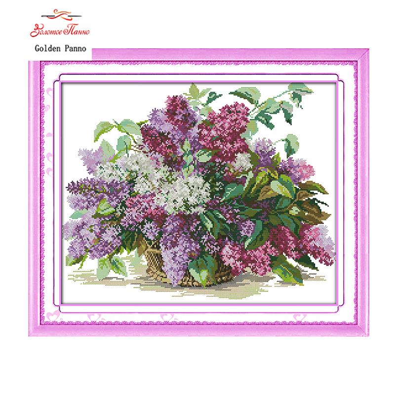 Golden Panno,Lilac Counted Cross Stitch 11 14CT Cross Stitch Sets Flowers Cross Stitch Kits for Embroidery Home Decor 923