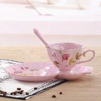 150 ملليلتر الأزياء الملكي الوردي عشاق فنجان القهوة مجموعة كوب الشاي زهرة الشاي الأسود كوب والصحن