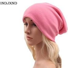 Зима многофункциональный шапочки осень женщина gorros чистого цвета женщины шапочки шляпы высокого качества женский skullies M028