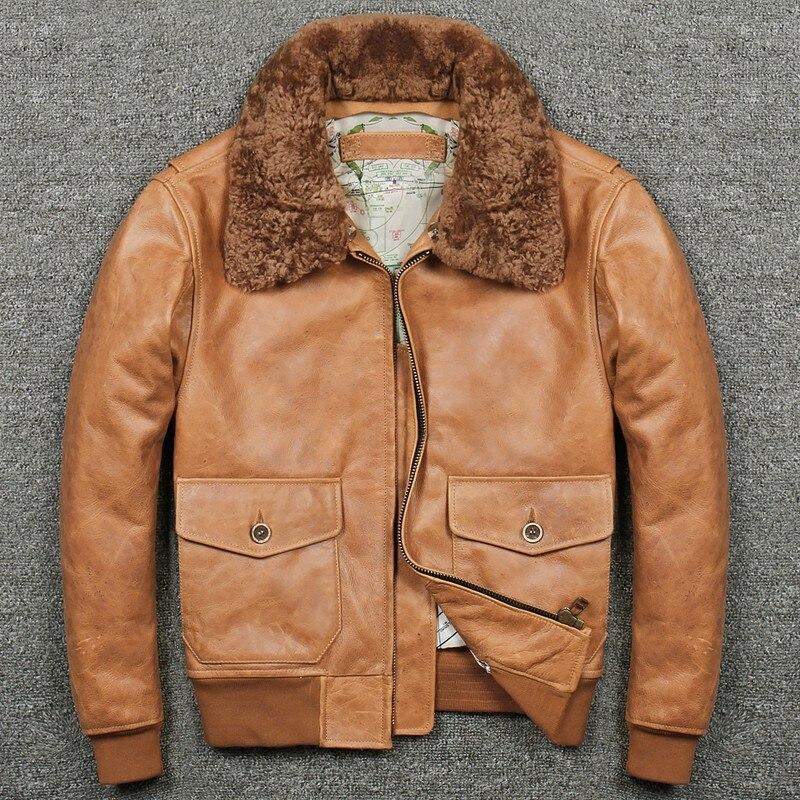 Новая осенне-зимняя мужская куртка-пилот из натуральной кожи оранжевое пальто с отложным воротником датский на молнии Толстая настоящая ко...