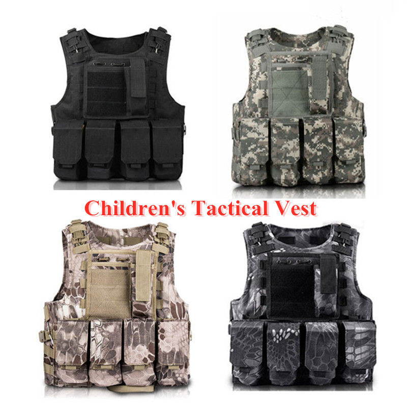 Children Outdoor CS Shooting Protection Gear Vest Kid Military Combat Training Camping Hunting Multi function Tactical Waistcoat|Hunting Vests| |  - title=