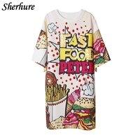 2018 Spring Women Long T Shirts Sequins Letter Print Harajuku Women T Shirts Oversize Vestidos Blusa