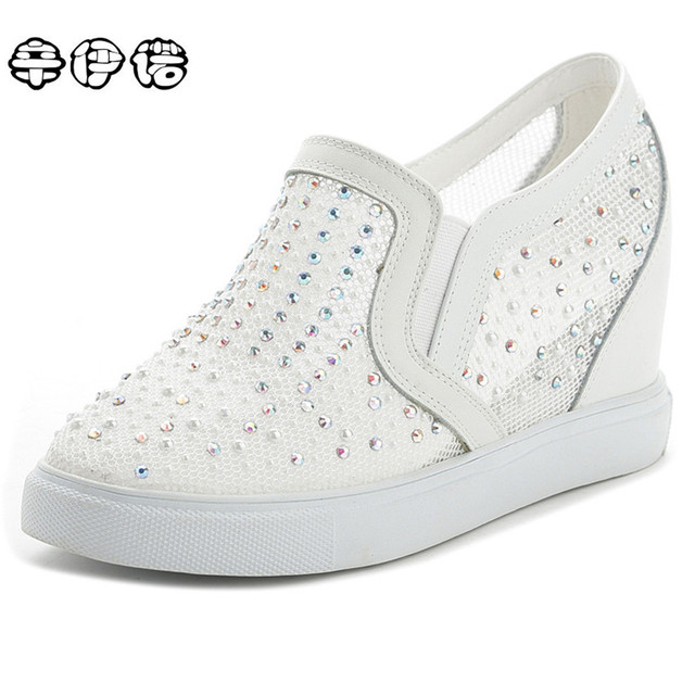 Women's Rhinestone High Top Platform Wedge Heels Creepers Shoes Casual Sneakers