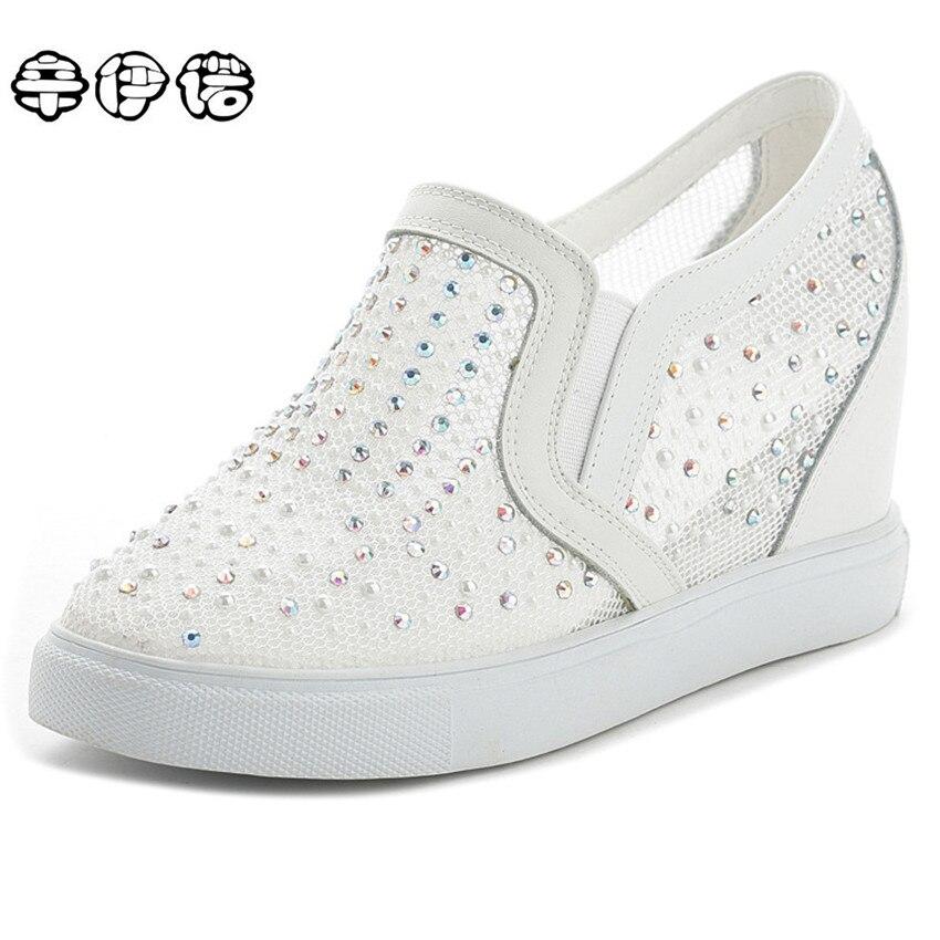 Women Summer Shoes Woman Mesh Rhinestone Wedges Casual Shoes Elevator High Heels Creepers Hidden Wedge Heels Tenis Zapatos Mujer