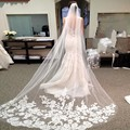 New Arrival Custom made White wedding accessories 2017 Appliques Lace Long bridal veil voile mariage Veu noiva