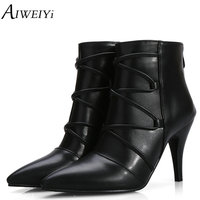 AIWEIYi Fashion Women Boots 2018 High Heels Ankle Boots Platform Shoes Brand Women Shoes Autumn Winter