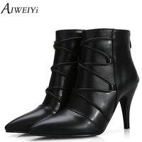 AIWEIYi Fashion Women Boots 2018 High Heels Ankle Boots Platform Shoes Brand Women Shoes Autumn Winter