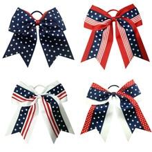7 Inch new hair bows fashion print Childrens accessory clip Elastic bands Cheerleader accessories Headwear
