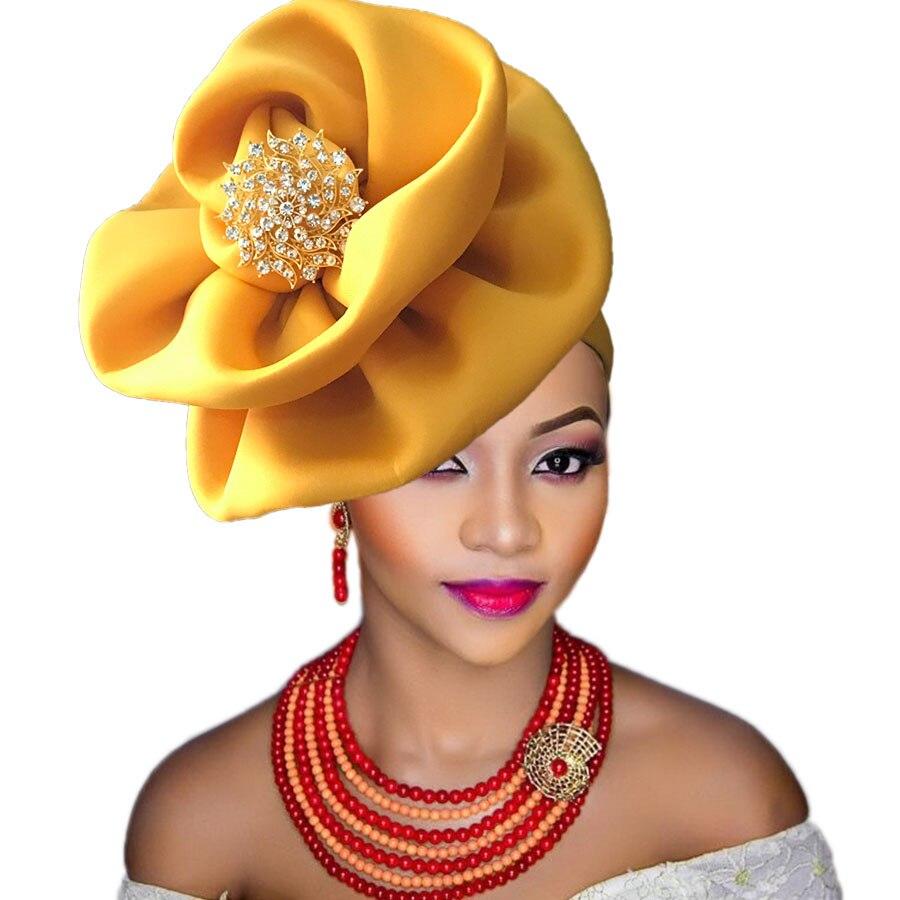Auto Gele Voor Zwarte Vrouw Party Afrikaanse Headtie Nigeria Tulband Hoofdband Al Gebonden Hoofd Wraps Cap Goede Metgezellen Voor Kinderen Evenals Volwassenen