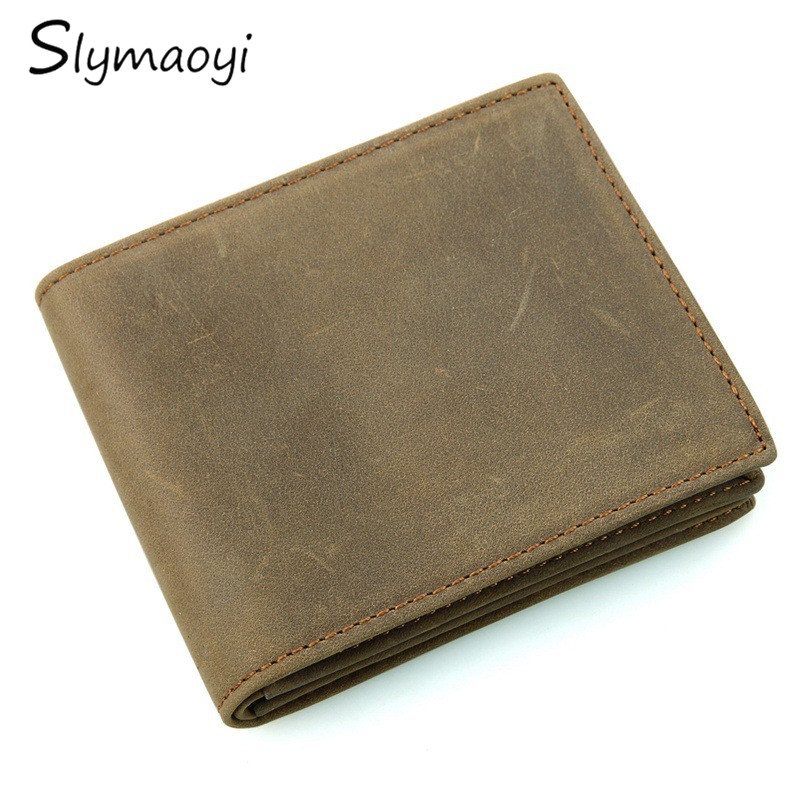 Slymaoyi Genuine Crazy Horse Cowhide Leather Men Wallets Fashion Male Purse Vintage Short Wallet Clutch Carteira Masculina slymaoyi 2017 genuine crazy horse leather men wallet short coin purse small vintage wallets brand high quality designer carteira