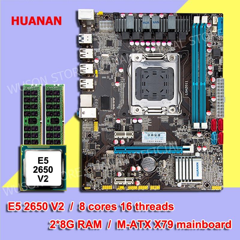 Hot HUANAN X79 ZHI-Micro ATX motherboard CPU memória combos LGA2011 motherboard CPU Intel E5 2650 V2 RAM 2 * 8G DDR3 1600 ECC REG