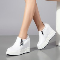 10CM High Heels women pumps Hidden Wedge Women Sneakers Platform Shoes women Height Increasing shoes Slip on Footwear
