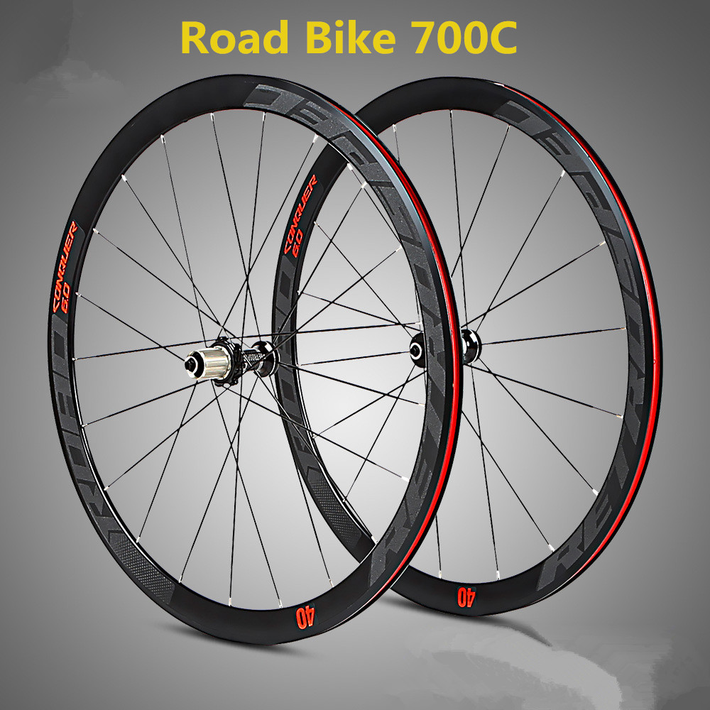 C6.0 super-light aluminum four-perlin flat spokes racing 40 rims road bike wheel 700C with anti-cursor mountain bike four perlin disc hubs 32 holes high quality lightweight flexible rotation bicycle hubs bzh002