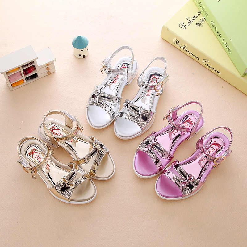 ... Girl Sandals 2019 Spring Children Princess Glitter Sandals Kids Girls  Square Low-heeled Dress Party ... 3afc42b97745