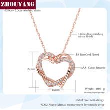 ZHOUYANG Top Quality Heart to Heart Rose Gold Color Pendant Necklace Jewelry Made with Austria Crystal Wholesale N062 N063