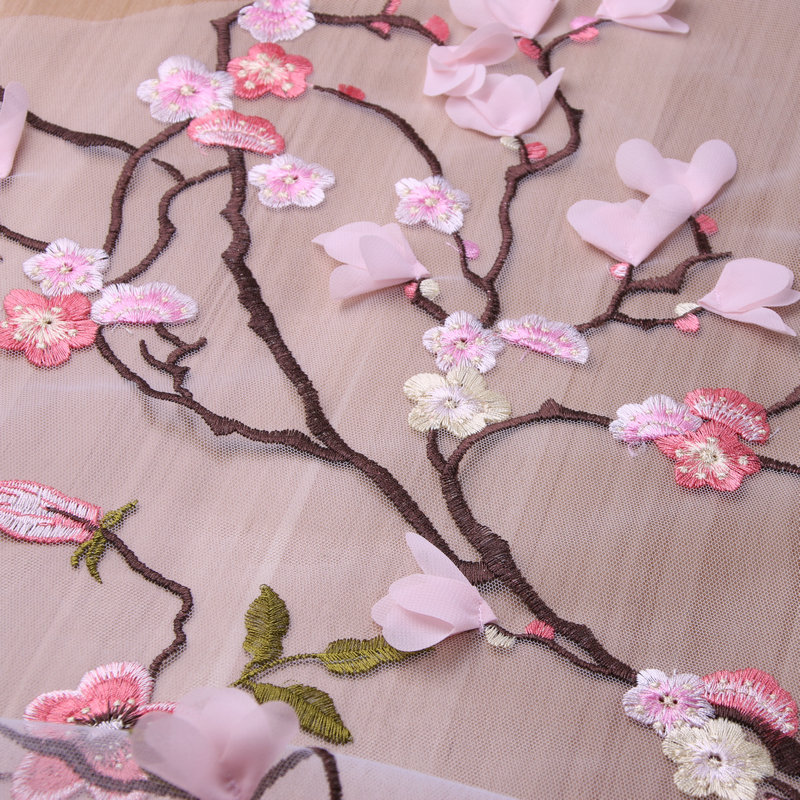 3D pink Flowers Lace Fabric,Peach blossom lace fabric, Africa evening dress lace fabric, wedding dress lace fabric