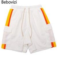Bebovizi Brand 2018 Summer New Street Patch Pocket Stitching Sweatpants Hip Hop Men S Casual Shorts