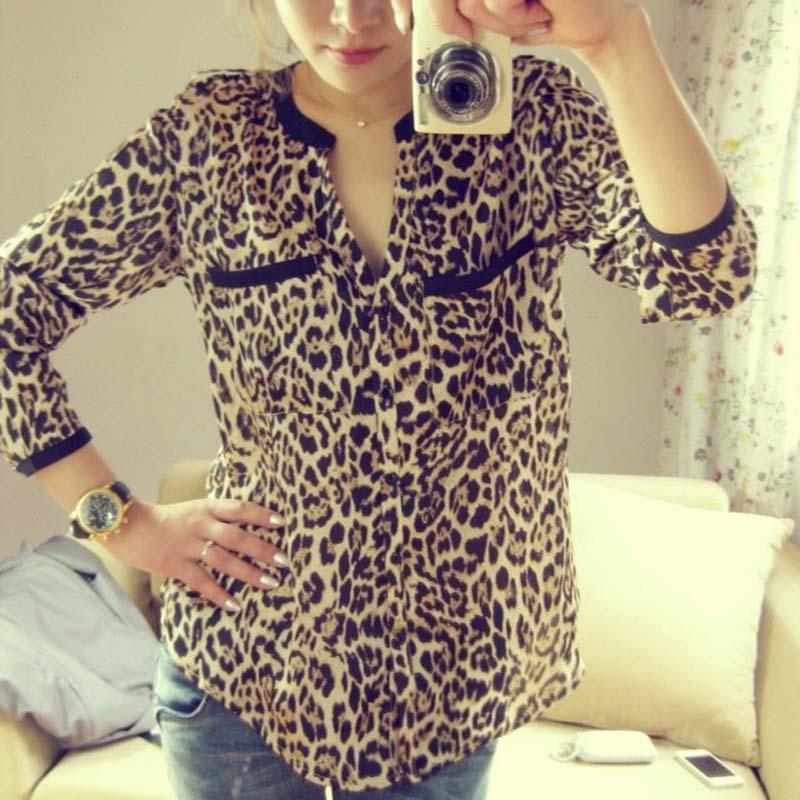 Women Blouse Leopard Print Shirt Long sleeve V -Neck Top Loose Blouses Plus Size Chiffon Shirt Camisa Feminina Clothing jeans con blazer mujer
