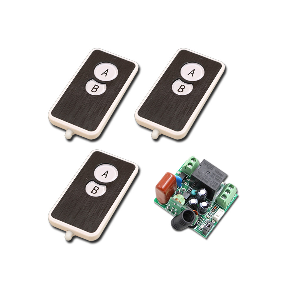 2Key Mini Size 220V 1CH Wireless Remote Control Switch Relay 1X Receiver +3X 2CH Transmitter System 315 MHZ 433MHZ New wireless pager system 433 92mhz wireless restaurant table buzzer with monitor and watch receiver 3 display 42 call button