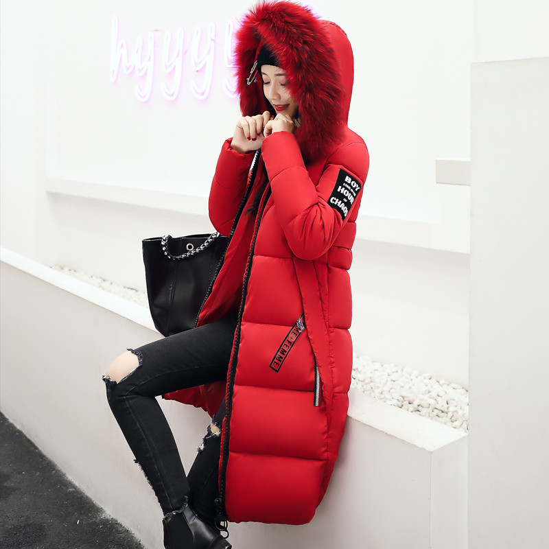 Hodisytian New Fashion Women Parkas Casual Winter Thicken Cotton Coat Fur Collar Wadded Hooded X-long Padded Overcoat Plus Size new wadded winter jacket women cotton long coat with hood pompom ball fashion padded warm hooded parkas casual ladies overcoat