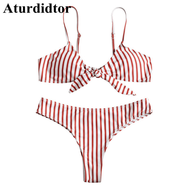 097d9e98cb1 Red And White Striped Front Knotted Bathing Suit Girl Bikini Two Piece  Spaghetti Strap Swminsuit Sweet Elastic Swimwear Women