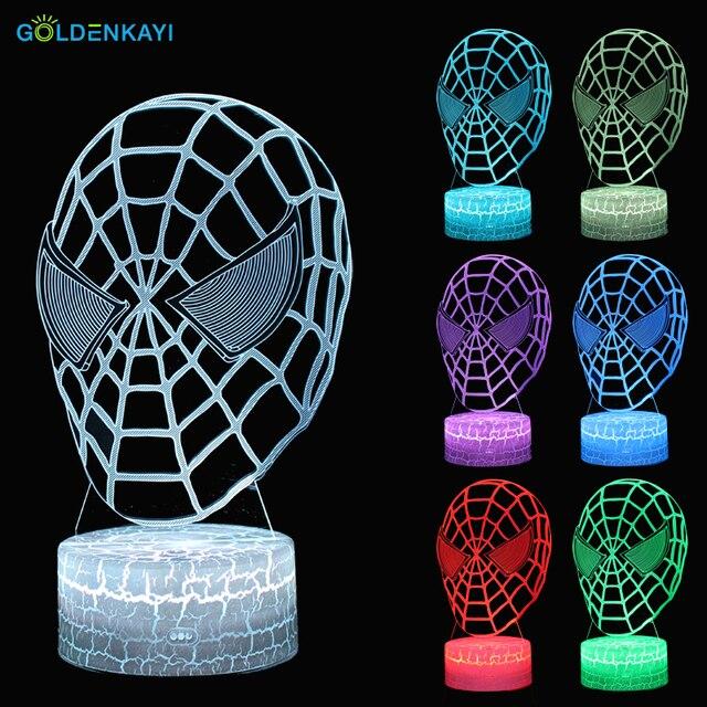 Máscara Do Homem Aranha 3D Interruptor de Toque Lâmpada de Mesa LEVOU Luzes Da Noite Atmosfera Sete Cores Acrílico Para Crianças Quarto Lâmpada Decorativa