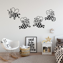 Cartoon Bee Removable Art Vinyl Wall Stickers For Kids Rooms Decoration Decal for bedroom