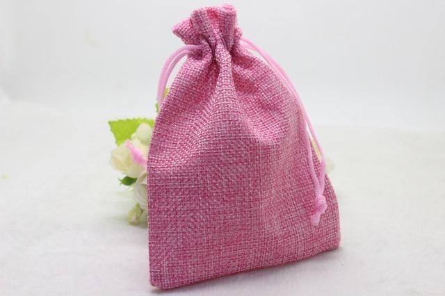 Wholesale 50pcs Lot 10x14cm Linen Favor Bags Pink Colour Christmas