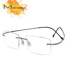 0d3eadae9186b Homens Sem Aro Óculos De Armação de Prescrição Óculos L-682 Optical  Ultraleve Quadro Azul