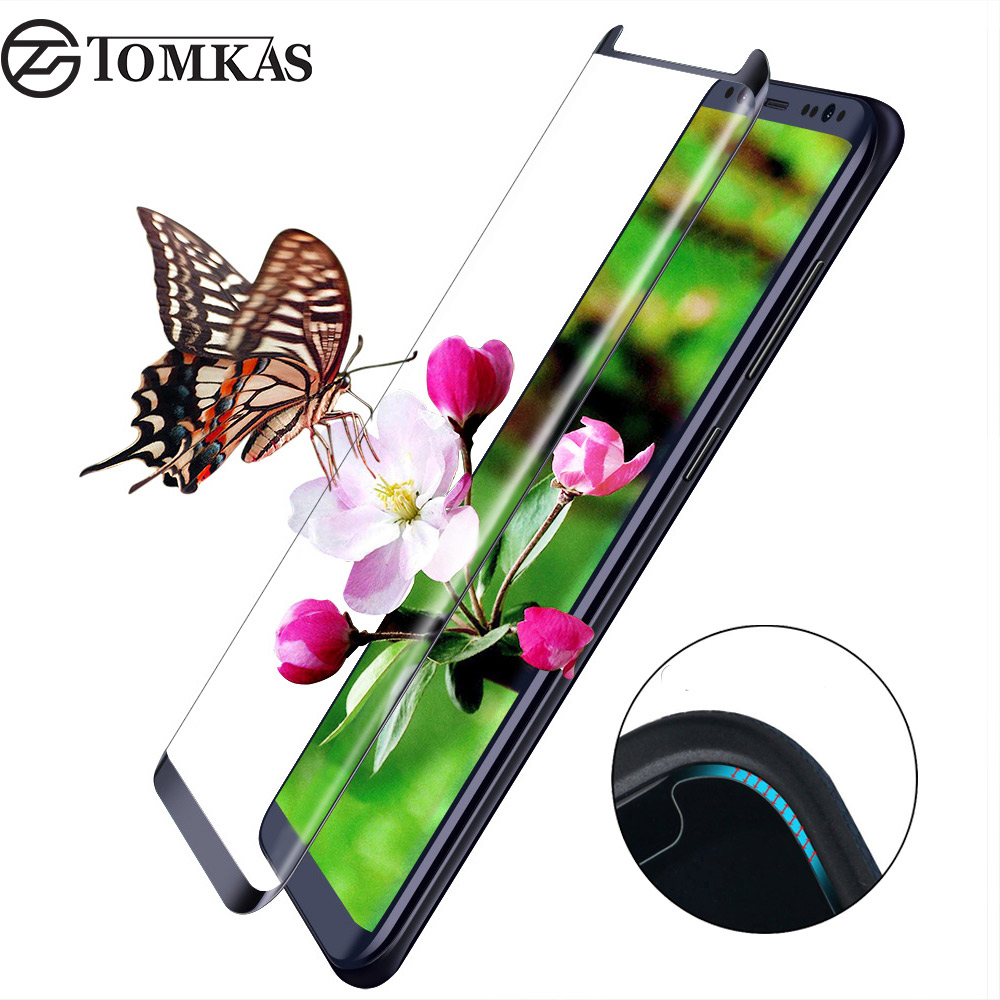 TOMKAS Tempered Glass For Samsung Galaxy S8 S8 Plus 3D Round Curved Protective Film For Samsung Galaxy S8 Screen Protector Glass