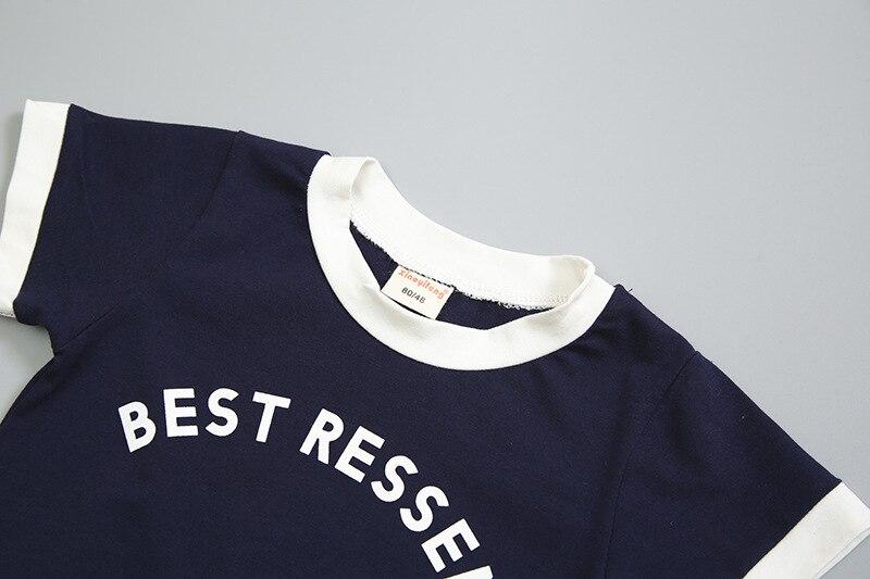 algodão carta camiseta curto 2 pçs sets