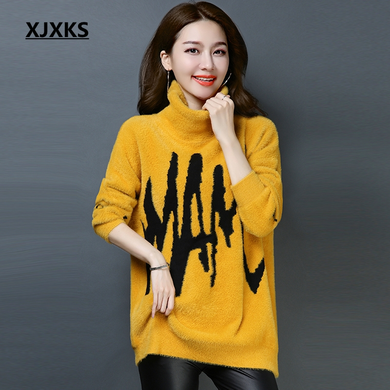 Hiver Chandail Beige 2018 Casual Xjxks À Mode jaune Vintage Tricoté Col noir Floue Pull Lâche Chaud Femmes Roulé Manches Chandails Longues q4dxwC