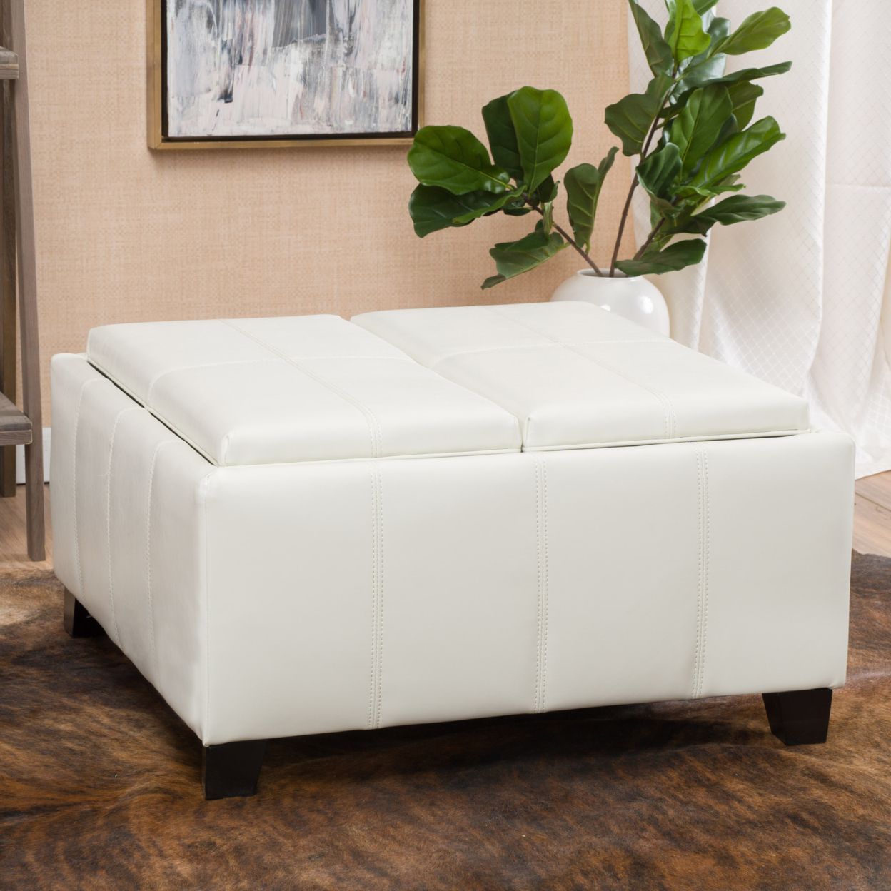 ivory leather ottoman coffee table