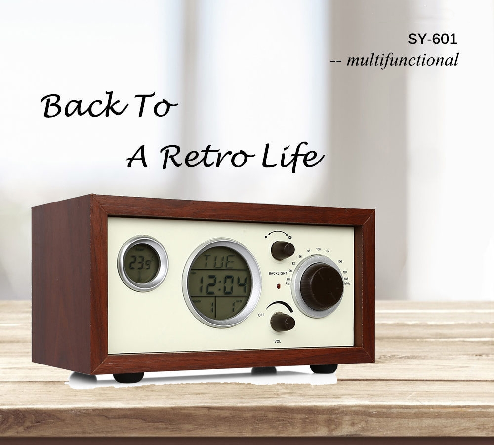 Table top display case - Radioddity Sy 601 Multifunctional Fm Table Top Radio Classic Wooden Case With Lcd Display Backlight