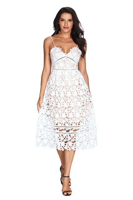 spaghetti strap women summer dinner A-line mid-calf white red black Royal Blue  Lace Hollow Out Nude Illusion Party Dress 61636 ec68d8b24518