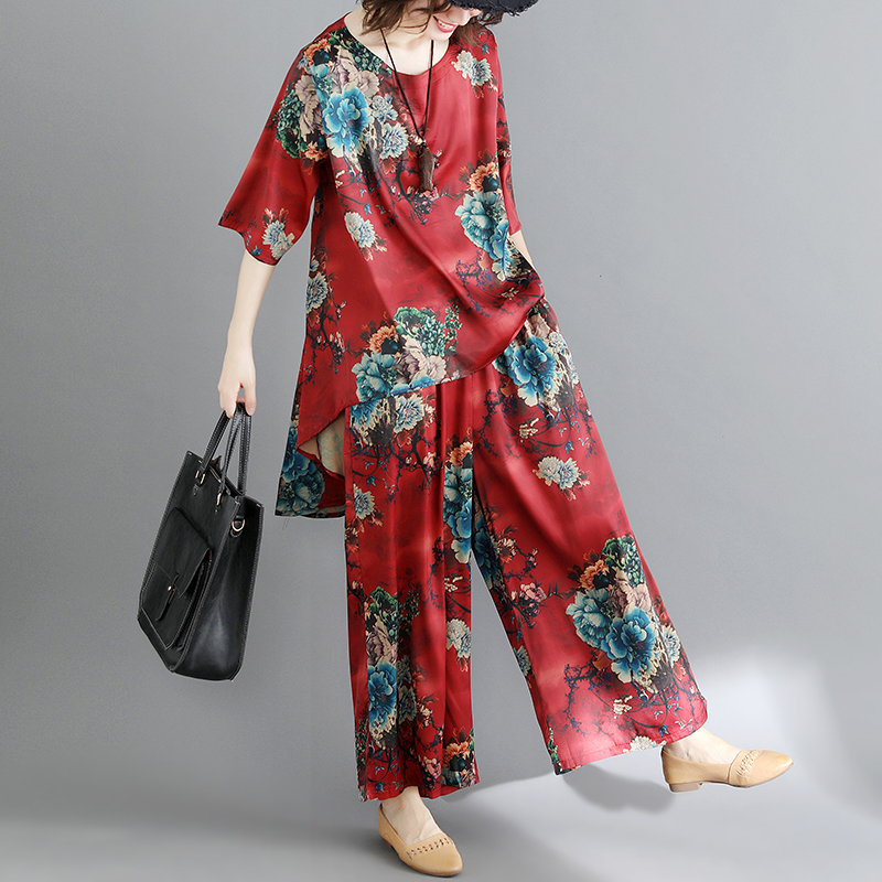 2018 Casual Tracksuit Women 2 Pieces Set Pullover Floral Print Tops + Wide Leg Pants Women's Suit Plus Size jn077