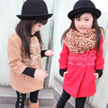 Free shipping Winter girl lace and velvet woolen cloth cotton-padded clothes coat coat cotton-padded jacket
