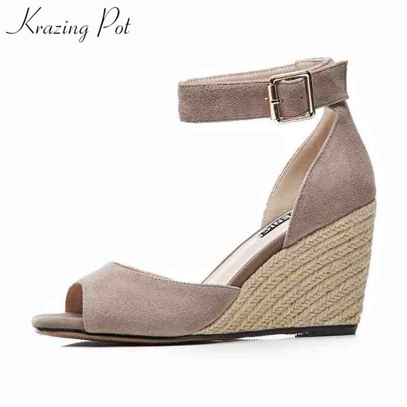 Krazing pot sheep suede ankle straps handmade straw women platform sandals wedges 8 5cm high heels