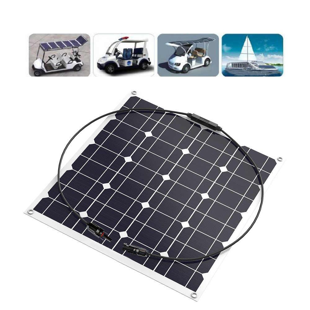 Высокоэффективная ПЭТ полугибкая солнечная панель 50 Вт 12 В солнечная батарея зарядное устройство для кемпинга, караван