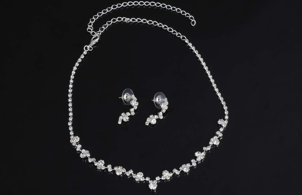 Fashion Silver Tone Crystal Tennis Choker Necklace Set Earrings Factory Price Wedding Bridal Bridesmaid African Jewelry Sets 7
