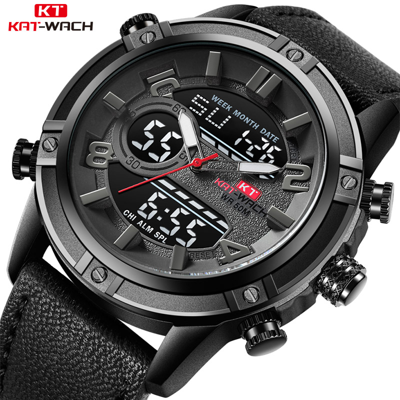 KAT-WACH Элитный бренд для мужчин смотреть кожа модные спортивные часы человек светодио дный кварцевые светодиодный цифровой часы водонепрони...