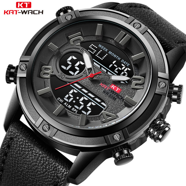 KAT-WACH Luxury Brand Men's Watch Leather Fashion Sport Watch Man Quartz LED Dig