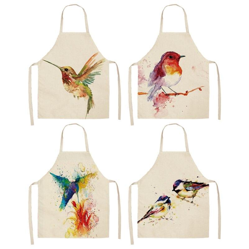 1 Pcs Uccello Modello Di Filiale Grembiuli Da Cucina Per Le Donne In Cotone E Lino Bavaglini Per La Casa Accessori Per La Pulizia Grembiule Da Cuoco 53*65 Cm A1017 Crease-Resistenza