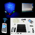 Christmas Gift 3D 8S mini Light cubeeds LED DIY KIT remote control  with animation Effects /3D8 8x8x8 Kits/Junior,In stock!