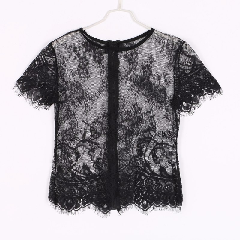 HTB1KRnVOFXXXXXFXVXXq6xXFXXXs - Women Sexy Hollow Short Sleeve Lace Crop Top Shirt